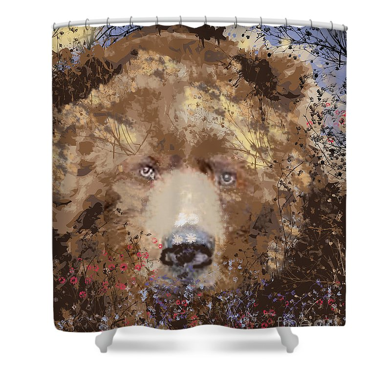Brown Bear Shower Curtain featuring the digital art Sad Brown Bear by Kim Prowse