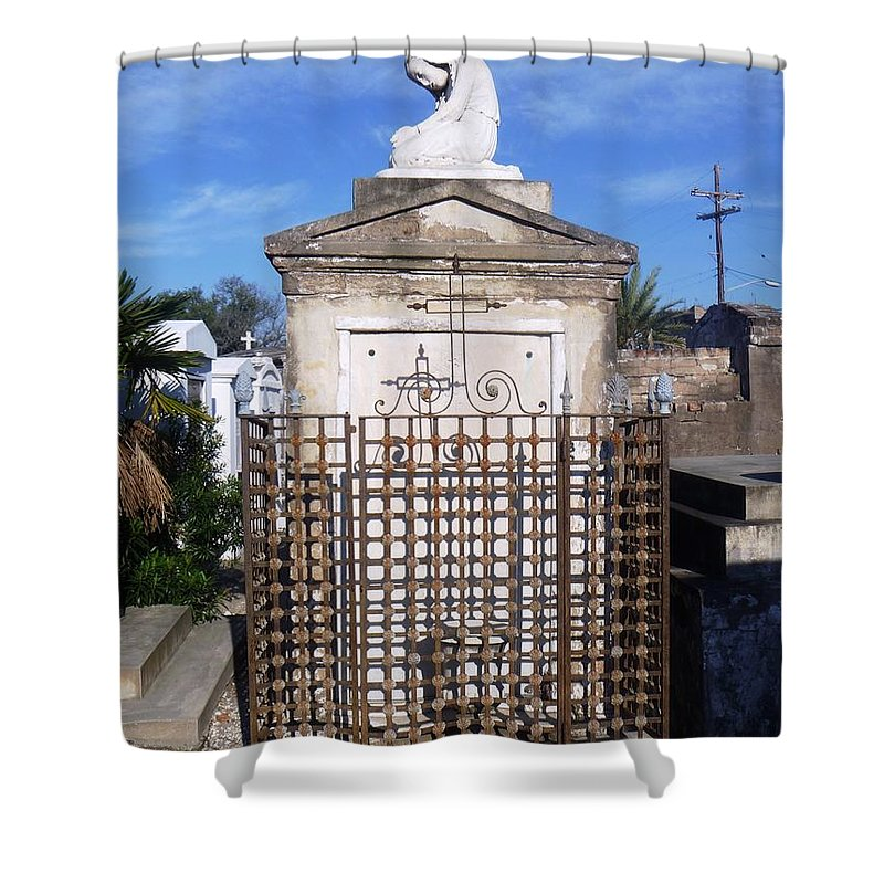 Statue Shower Curtain featuring the photograph Saddest Statue Tomb by Alys Caviness-Gober