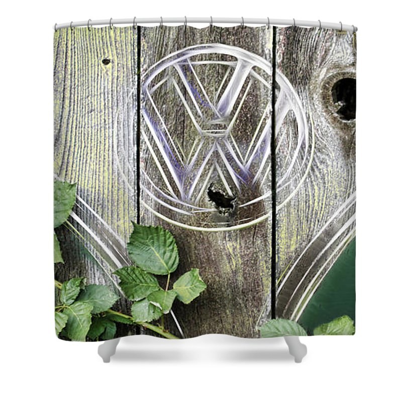 Vw Micro Bus Shower Curtain featuring the photograph Safari Fence by Steve McKinzie