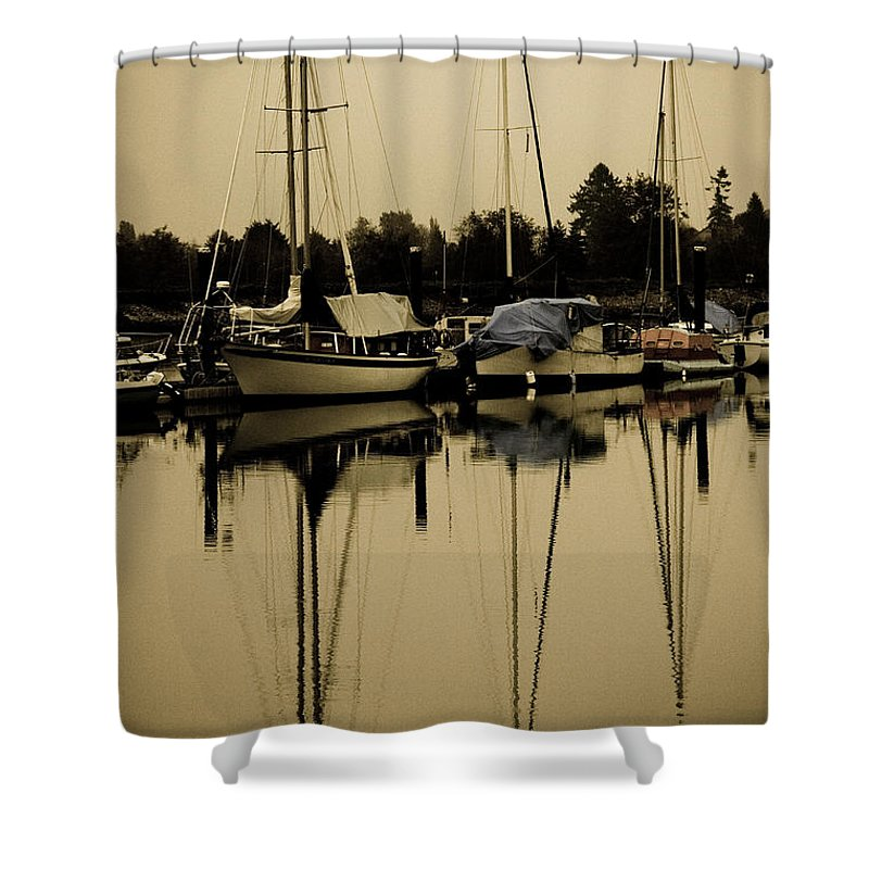 Sailboats Shower Curtain featuring the photograph Safe Harbor by Venetta Archer