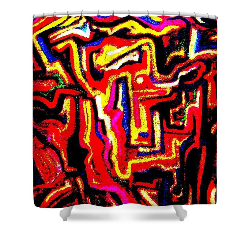 Vibrant Shower Curtain featuring the painting Saga No 1 by Shaun Hays