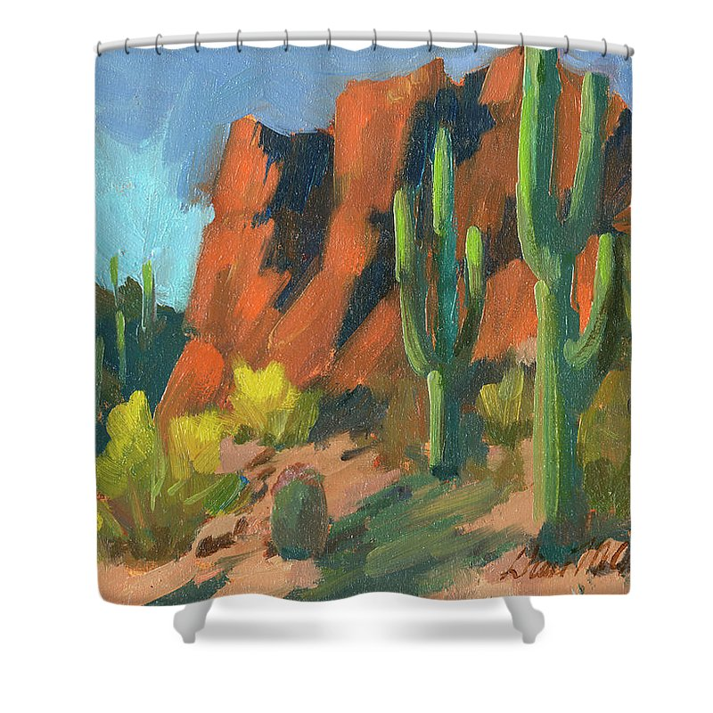 Saguaro Cactus Shower Curtain featuring the painting Saguaro Cactus 1 by Diane McClary