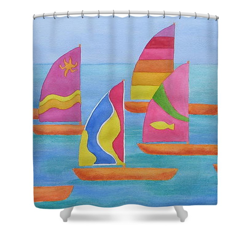 Sailboats Shower Curtain featuring the painting Sailabration by Rhonda Leonard