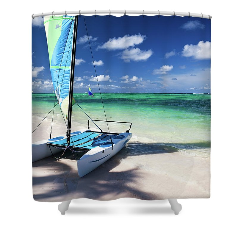 Wind Shower Curtain featuring the photograph Sailboat At Caribbean Sea by Danilovi