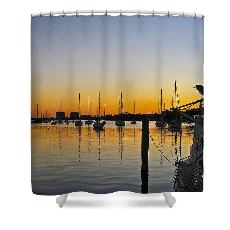 #sailboatbay #coconutgrove #miami #florida #shrimpboat #sailboat #sunset #ocean #bay #streetart #shipsboatsanddinghies #zazzle #photog #togs #fineart #deals Shower Curtain featuring the photograph Sailboat Bay by Steve Lipson