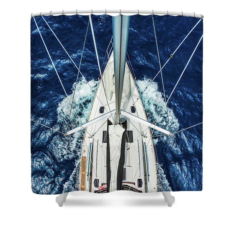 Adriatic Sea Shower Curtain featuring the photograph Sailboat From Above by Mbbirdy