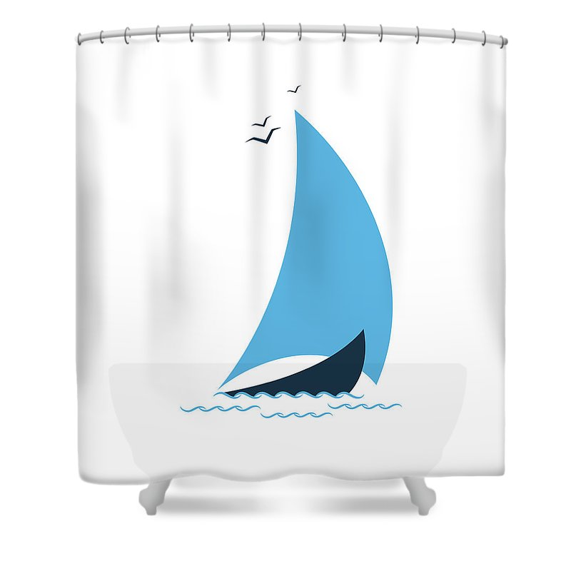 Curve Shower Curtain featuring the digital art Sailboat In The Sea. Concept For The by Liubov Trapeznykova