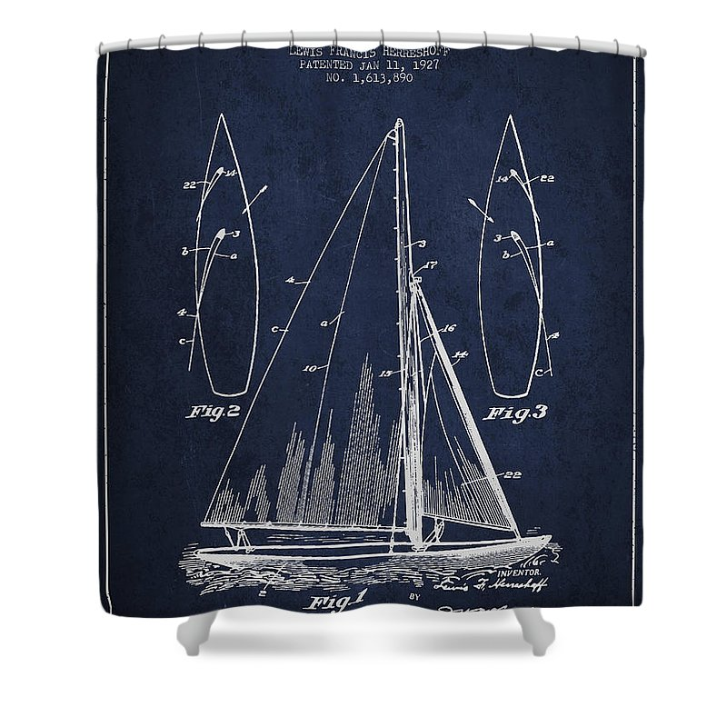 Sailboat Shower Curtain Featuring The Digital Art Patent Drawing From 1927 By Aged Pixel