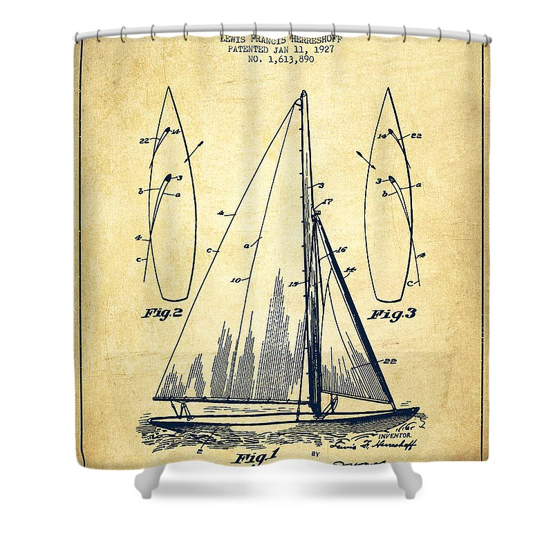 Sailboat Shower Curtain Featuring The Digital Art Patent Drawing From 1927