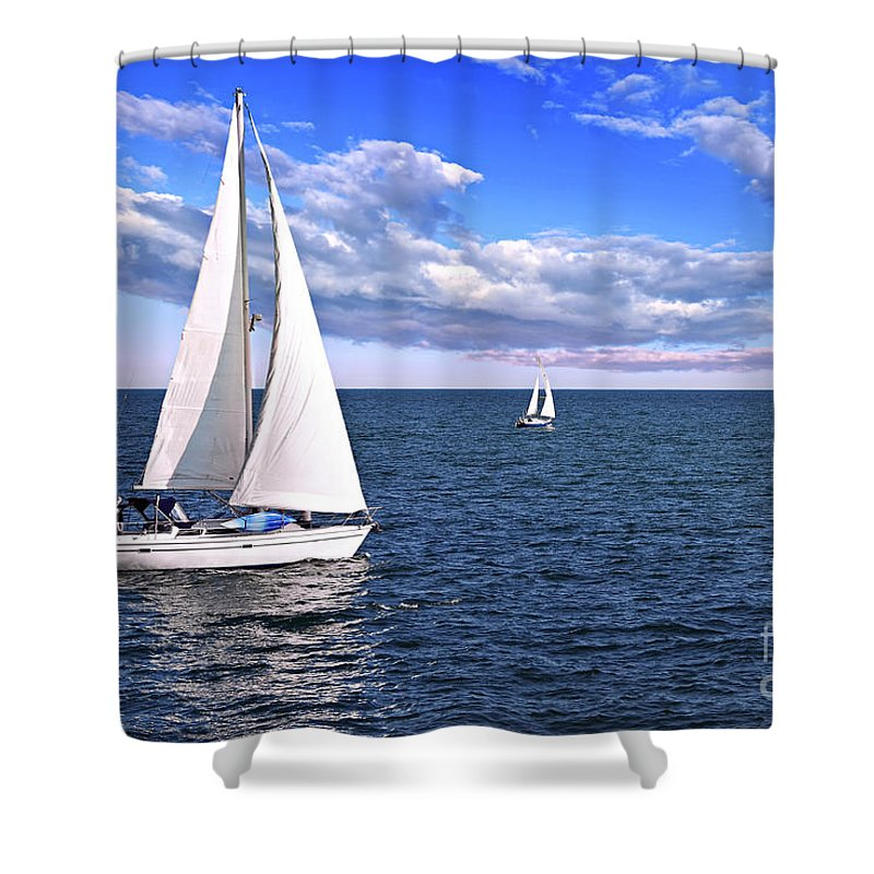 Boat Shower Curtain Featuring The Photograph Sailboats At Sea By Elena Elisseeva
