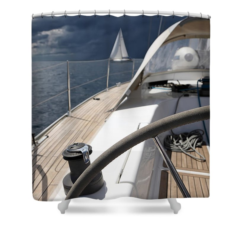 Adriatic Sea Shower Curtain featuring the photograph Sailboats In Mediterranean Sea by Vuk8691