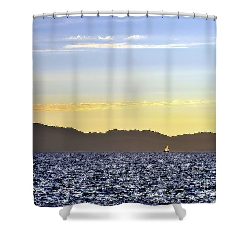 Sail Shower Curtain featuring the photograph Sailing At Sunset - Lake Tahoe by John Waclo