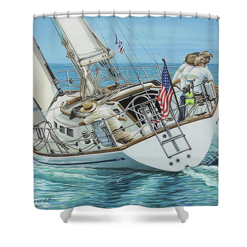 Ocean Shower Curtain featuring the painting Sailing Away by Jane Girardot