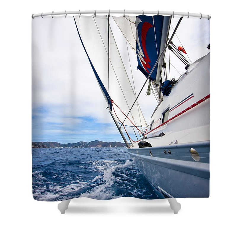 3scape Shower Curtain featuring the photograph Sailing Bvi by Adam Romanowicz