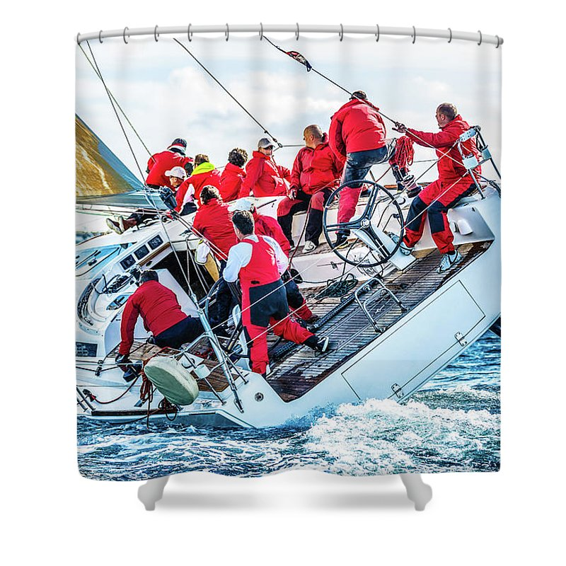 Adriatic Sea Shower Curtain featuring the photograph Sailing Crew On Sailboat During Regatta by Mbbirdy