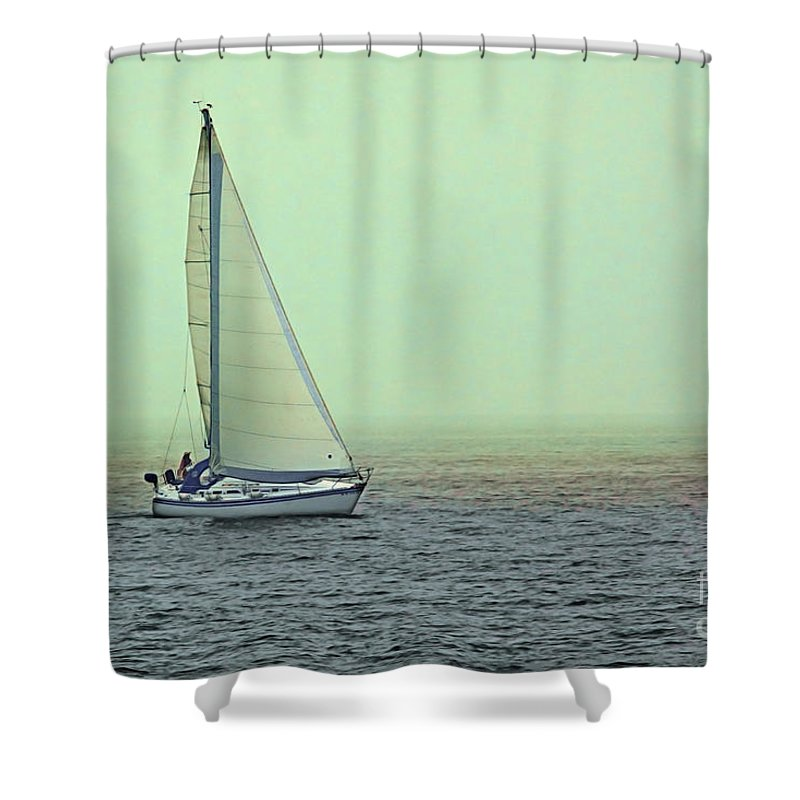 Sail Shower Curtain featuring the photograph Sailing Home by Jayne Gohr