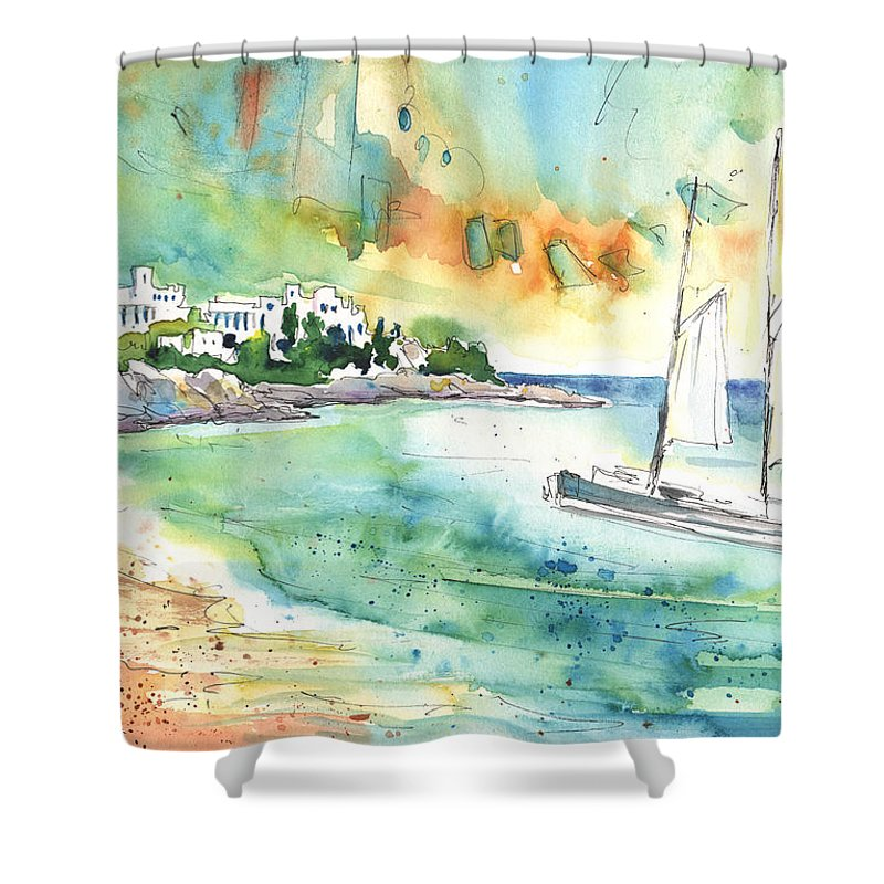 Caribbean Islands Shower Curtain featuring the painting Sailing In Saint Martin by Miki De Goodaboom