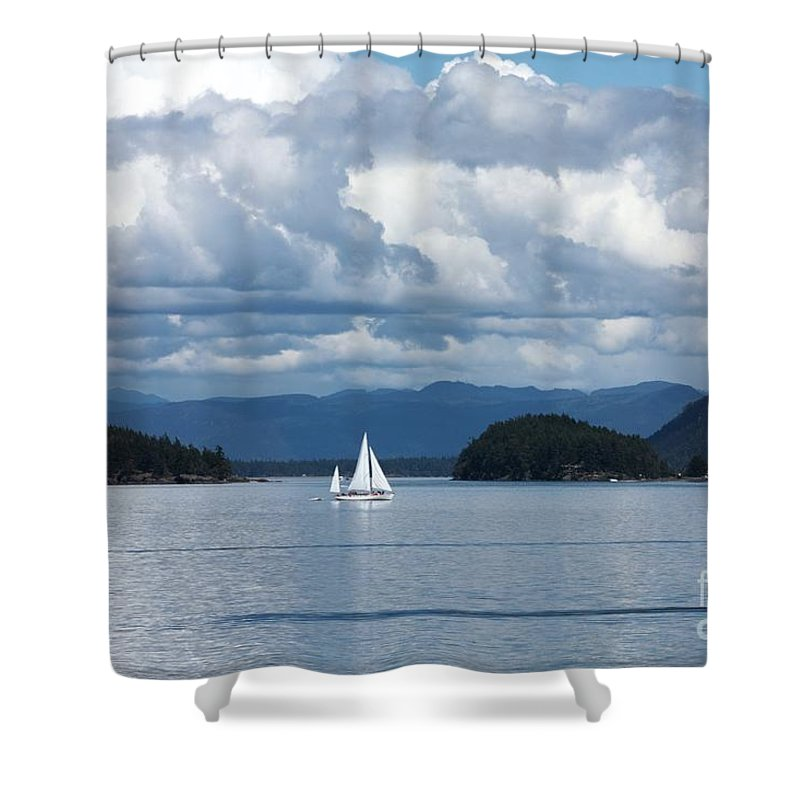 Nautical Shower Curtain featuring the photograph Sailing In The San Juans by Carol Groenen