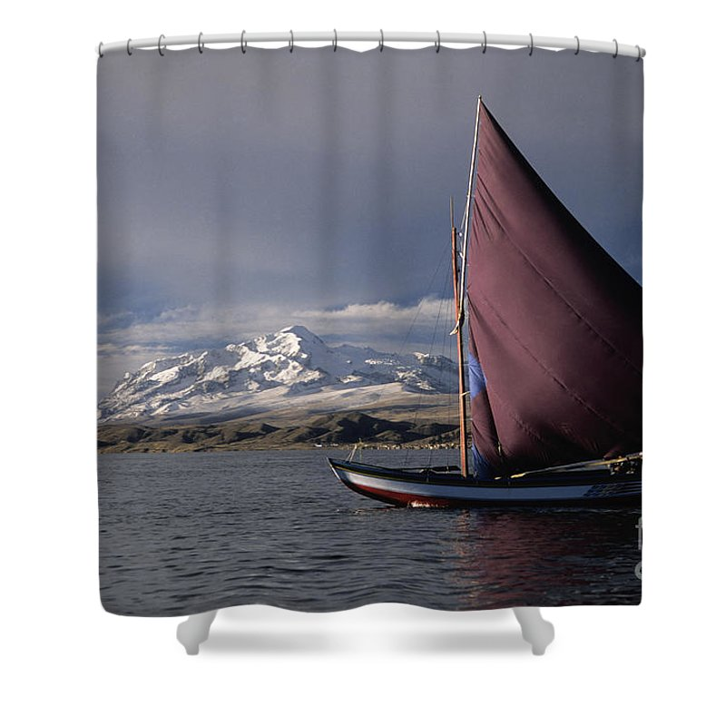 Lake Titicaca Shower Curtain featuring the photograph Sailing Boat On Lake Titicaca by James Brunker
