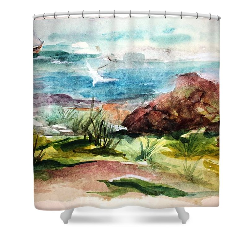 Sailing Shower Curtain featuring the painting Sailing Towards Anywhere by Mary Spyridon Thompson