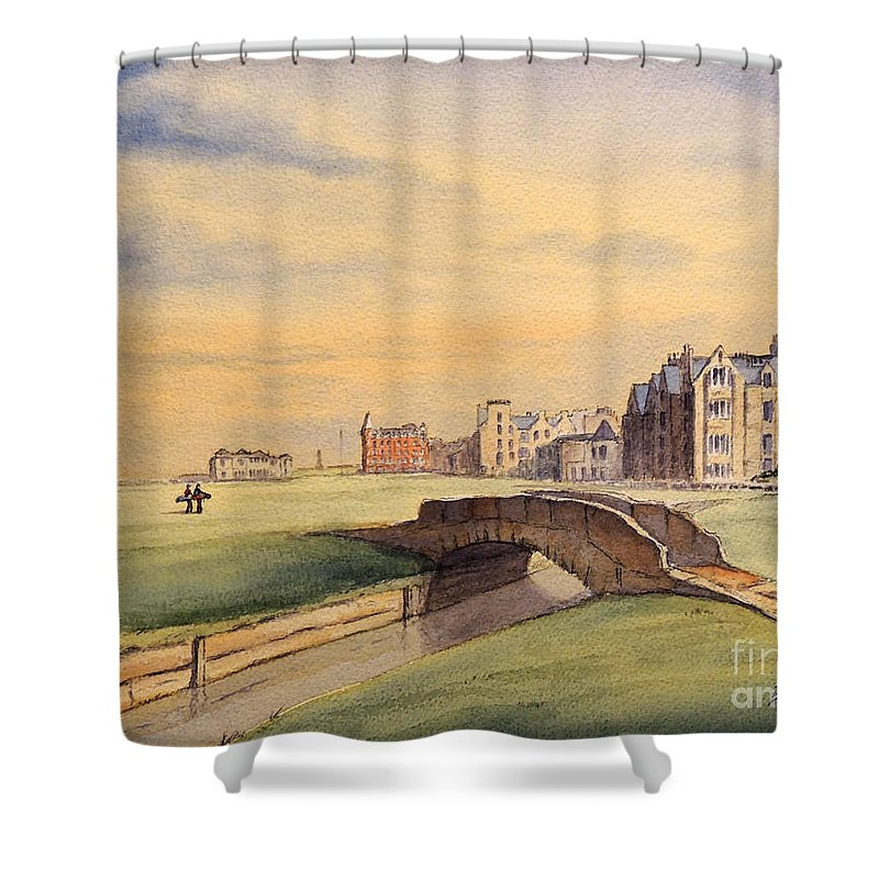 St Andrews Golf Course Shower Curtain featuring the painting Saint Andrews Golf Course Scotland - 18th Hole by Bill Holkham