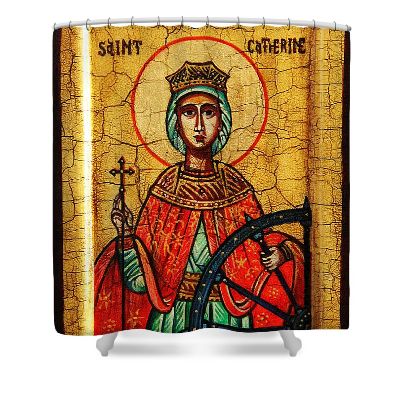 Saint Catherine Icon Shower Curtain featuring the painting Saint Catherine Of Alexandria Icon by Ryszard Sleczka