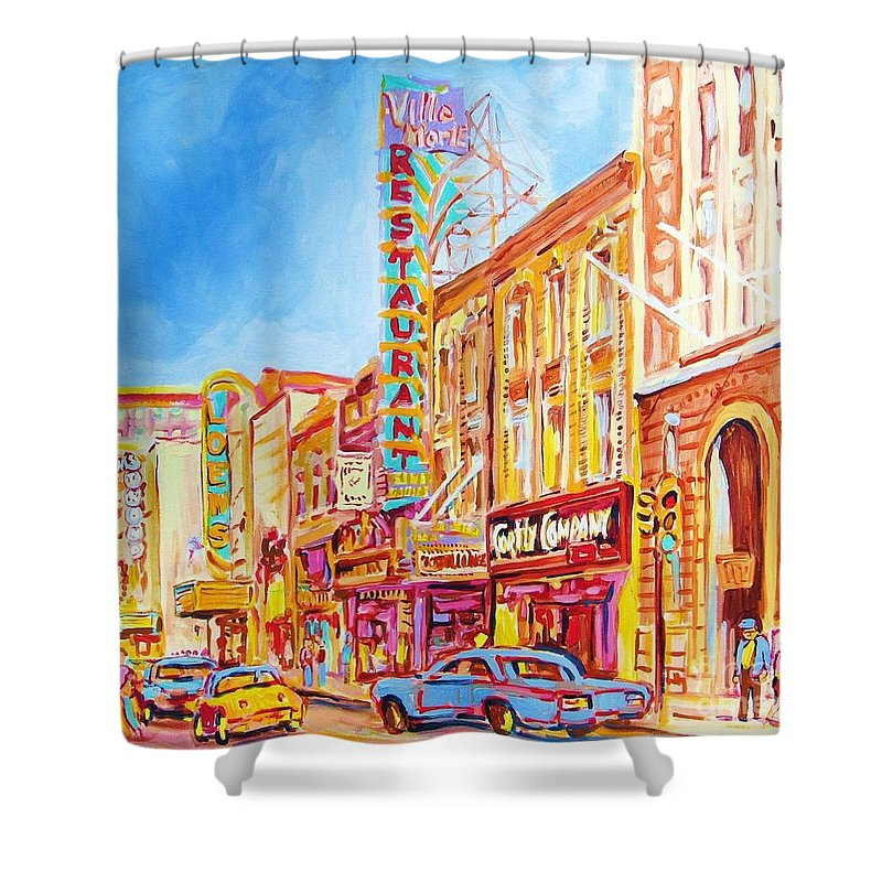 Paintings Of Montreal Shower Curtain featuring the painting Saint Catherine Street Montreal by Carole Spandau
