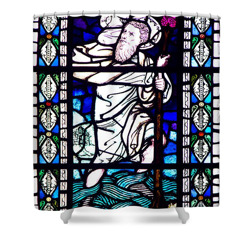 Stained Glass Shower Curtain featuring the photograph Saint Christopher by Roger Wedegis