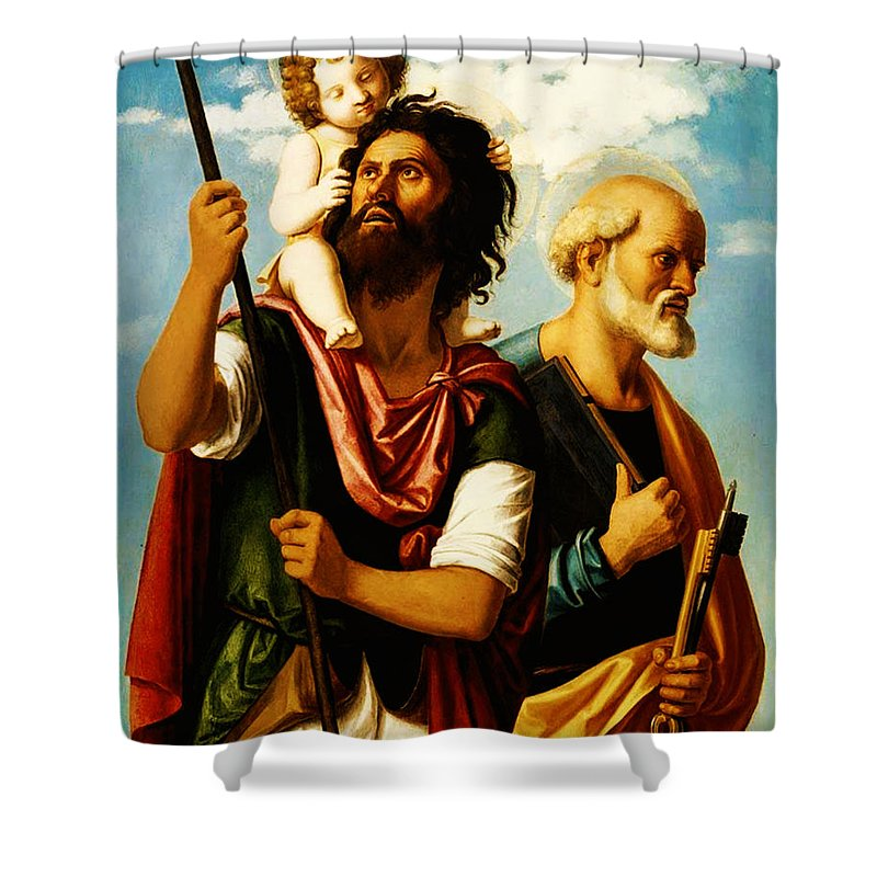 Saint Christopher With Saint Peter Shower Curtain featuring the painting Saint Christopher With Saint Peter by Bill Cannon