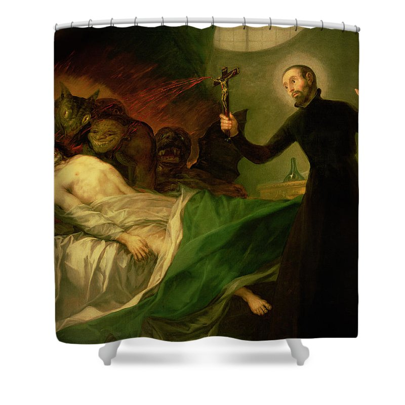 Goya Shower Curtain featuring the painting Saint Francis Borgia Helping A Dying Impenitent by Goya