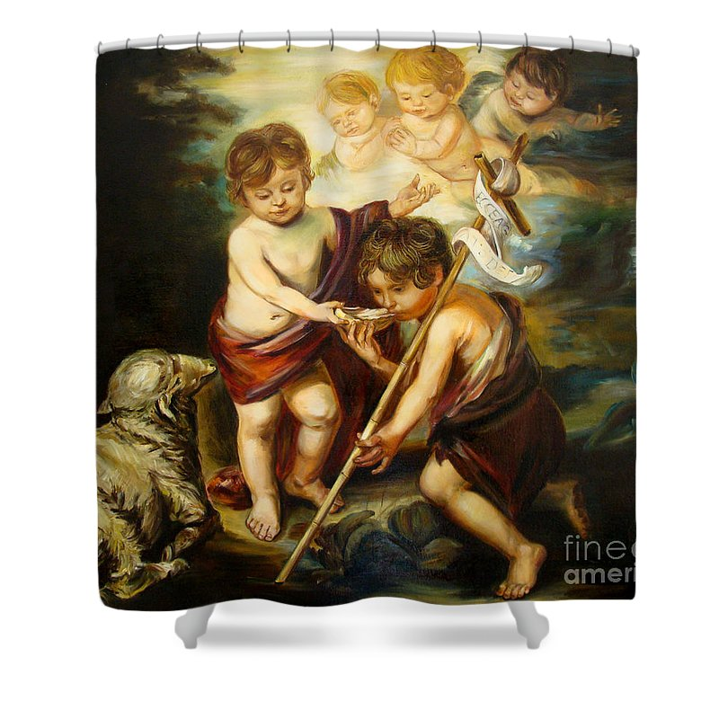 Classic Art Shower Curtain featuring the painting Saint John Baptist by Silvana Abel