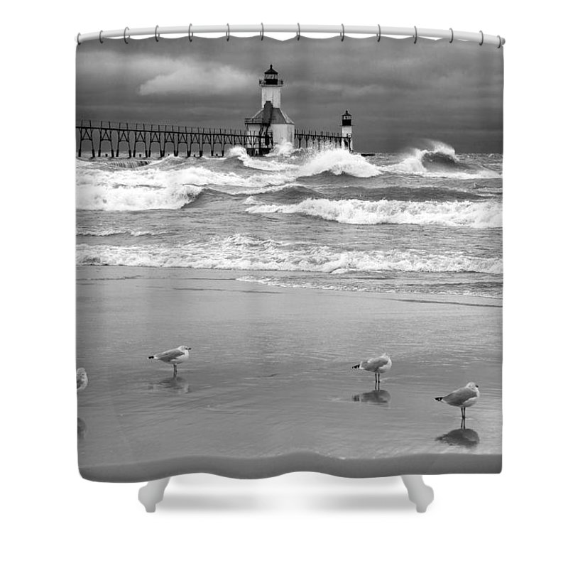 Horizontal Shower Curtain featuring the photograph Saint Joseph Michigan Lighthouses Stormy Day At Silver Beach I Bw by Sally Rockefeller