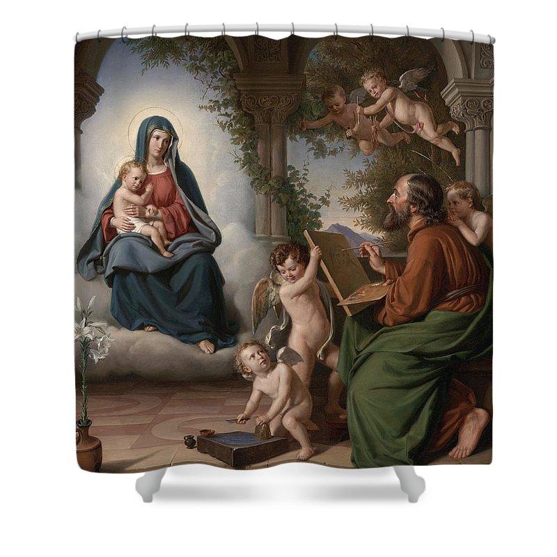 Christ Shower Curtain featuring the painting Saint Luke by Theobald Reinhold Freiherr von Oer