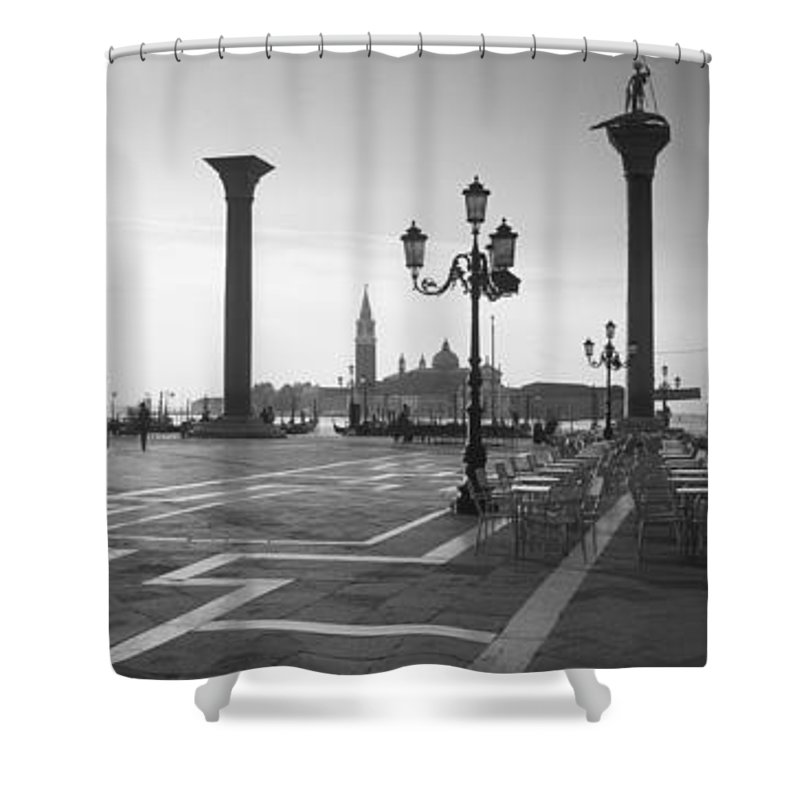 Photography Shower Curtain featuring the photograph Saint Mark Square, Venice, Italy by Panoramic Images