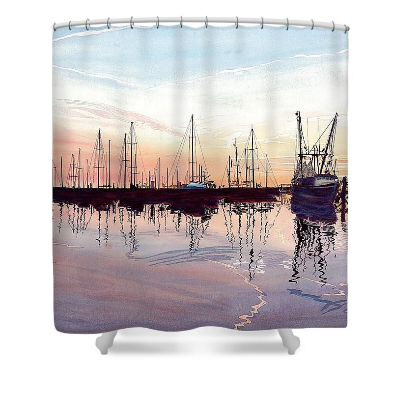 Fiery Sunset Shower Curtain featuring the painting Saint Marys Marina  Shadows Light And Fire by Joel Deutsch