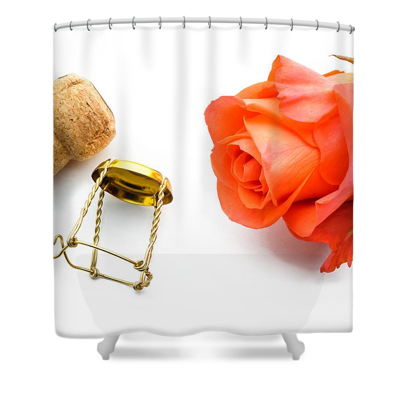 Abstract Shower Curtain featuring the photograph Saint Valentine Rose by Alain De Maximy