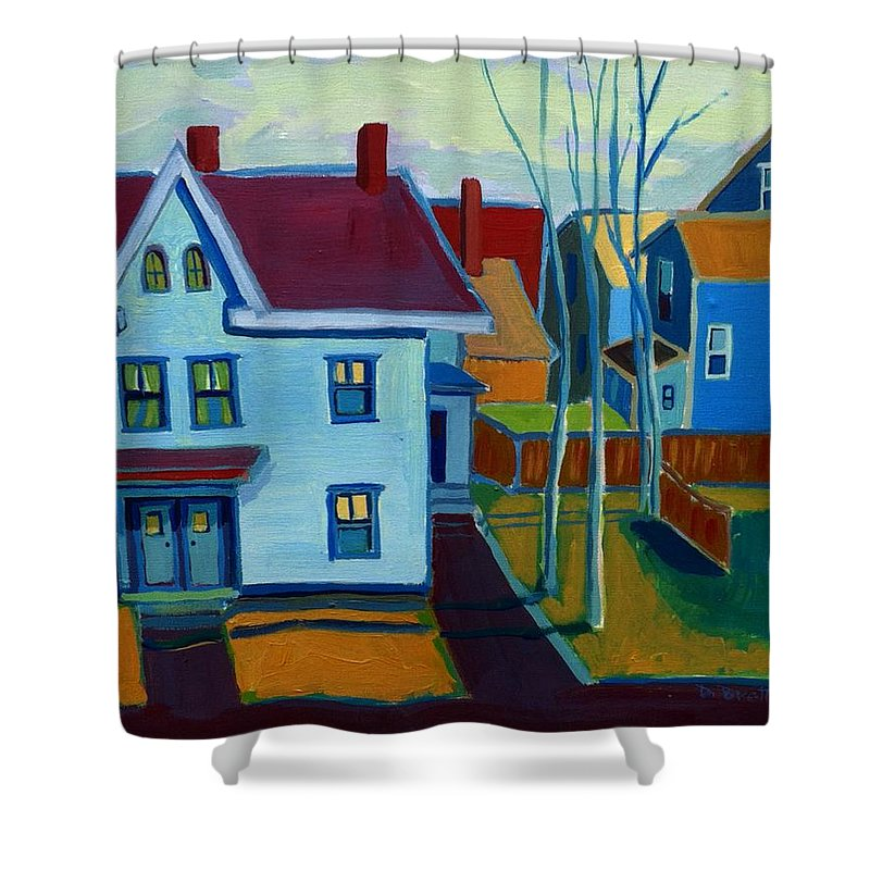 City Scene Shower Curtain featuring the painting Saints Memorial View by Debra Bretton Robinson