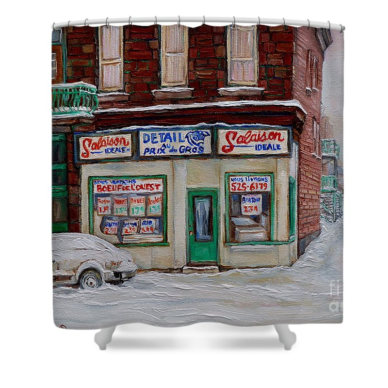 Montreal Shower Curtain featuring the painting Salaison Ideale Montreal by Carole Spandau