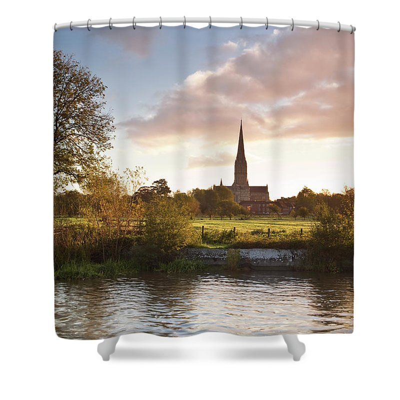 Tranquility Shower Curtain featuring the photograph Salisbury Cathedral And The River Avon by Julian Elliott Photography