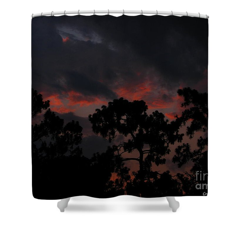 Art For The Wall...patzer Photography Shower Curtain featuring the photograph Salmon Sunset by Greg Patzer
