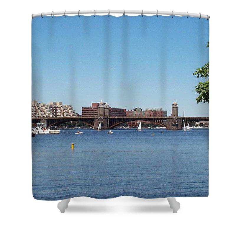 longfellow Bridge Shower Curtain featuring the photograph Salt And Pepper Bridge by Barbara McDevitt