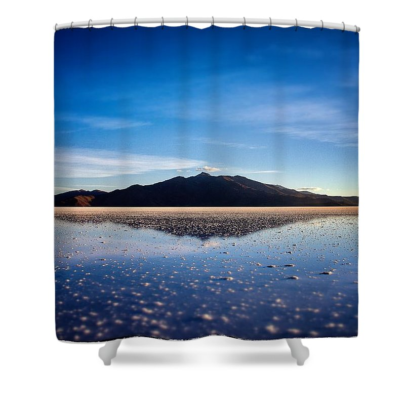 Harvest Shower Curtain featuring the photograph Salt Cloud Reflection Framed by For Ninety One Days
