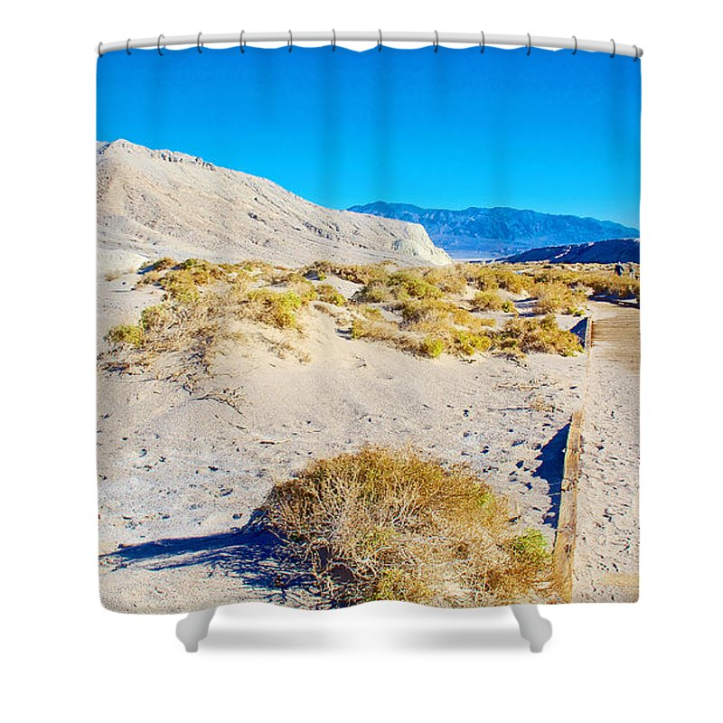 Salt Creek Boardwalk Trail In Death Valley National Park Shower Curtain featuring the photograph Salt Creek Boardwalk Trail In Death Valley National Park-california by Ruth Hager