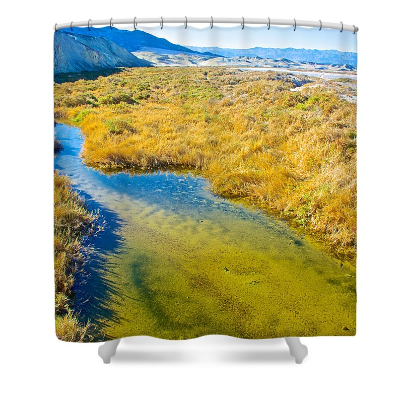 Salt Creek Near Salt Creek Trail Boardwalk In Death Valley National Park Shower Curtain featuring the photograph Salt Creek Near Salt Creek Trail In Death Valley National Park-california by Ruth Hager
