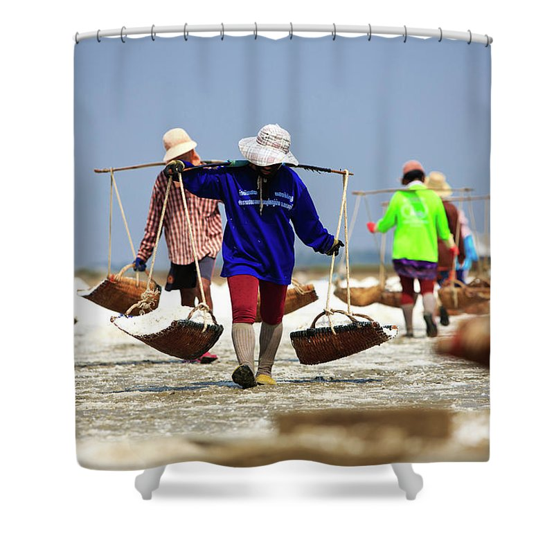 Child Shower Curtain featuring the photograph Salt Farm In Thailand by Monthon Wa