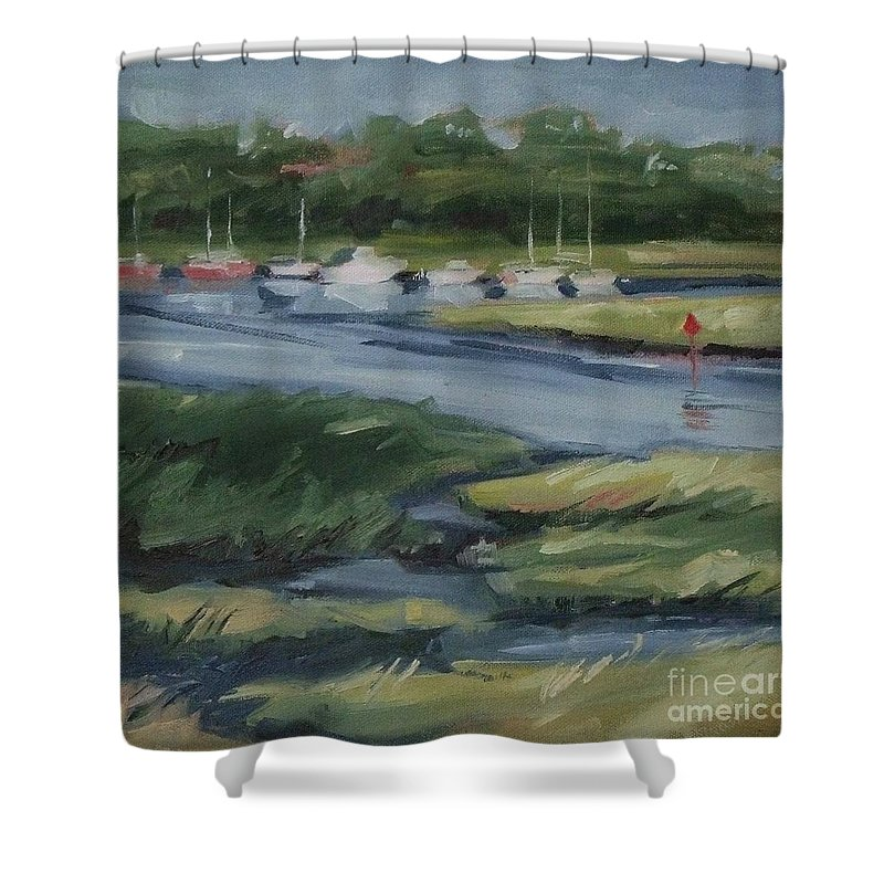 Doodlefly Shower Curtain featuring the painting Salt Marsh by Mary Hubley