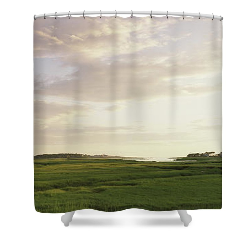 Photography Shower Curtain Featuring The Photograph Salt Pond In A Forest Cape Cod By Panoramic