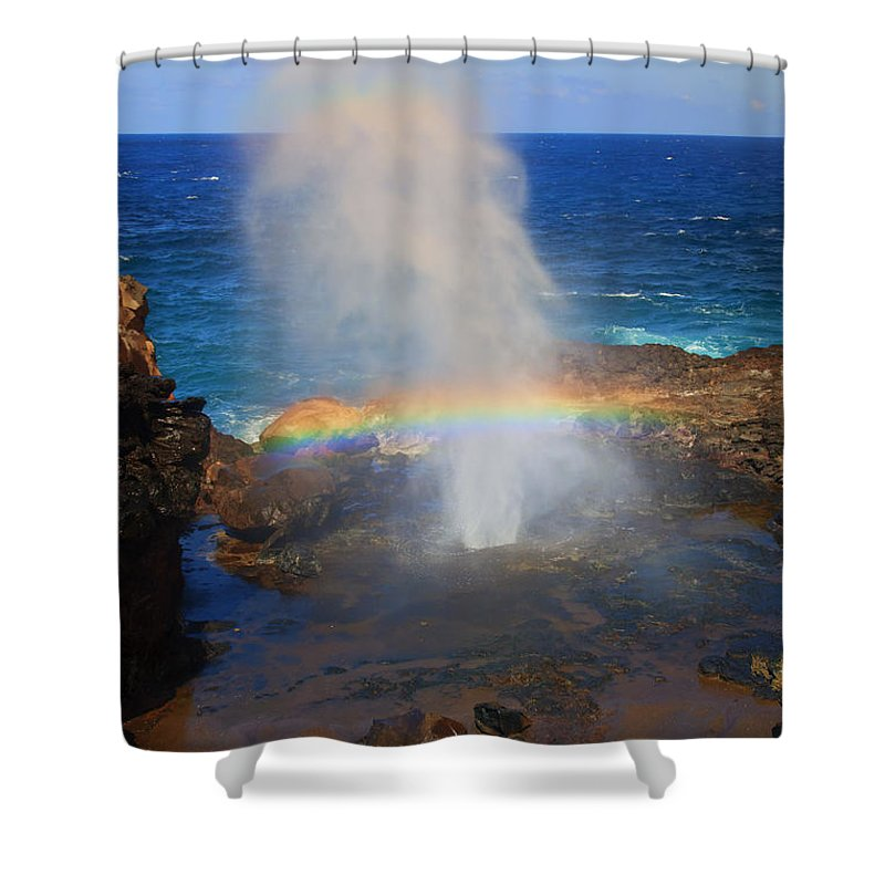 Rainbow Shower Curtain featuring the photograph Salt Spray Rainbow by Mike Dawson