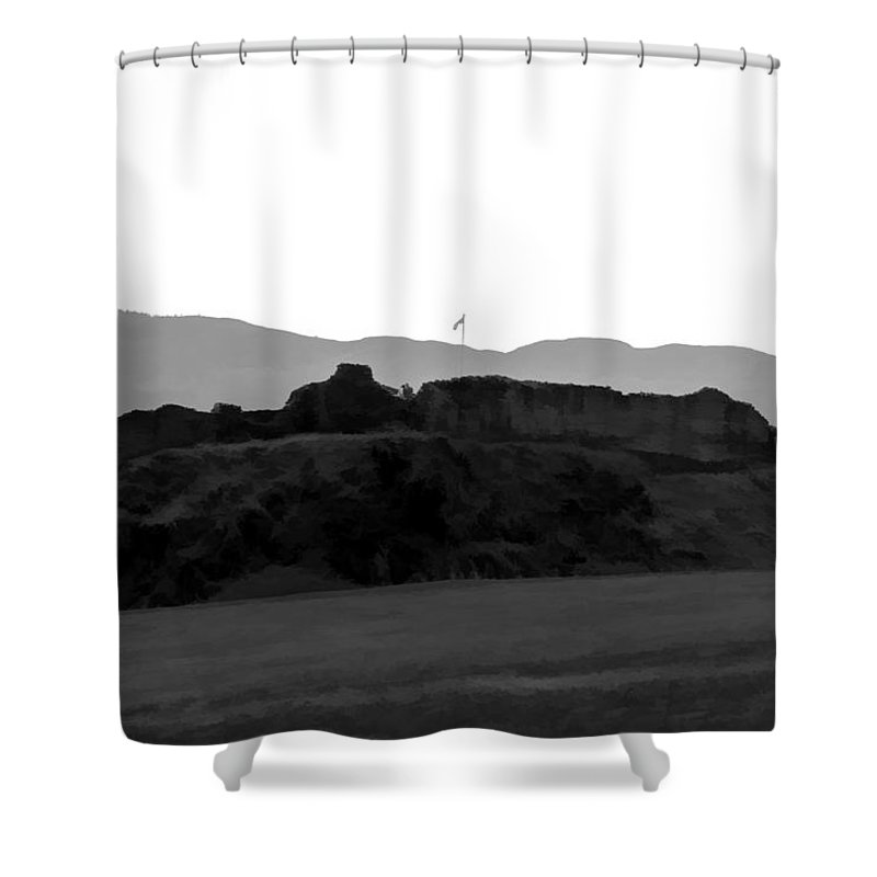 Blue Sky Shower Curtain featuring the digital art Saltire And The Ruins Of The Urquhart Castle by Ashish Agarwal