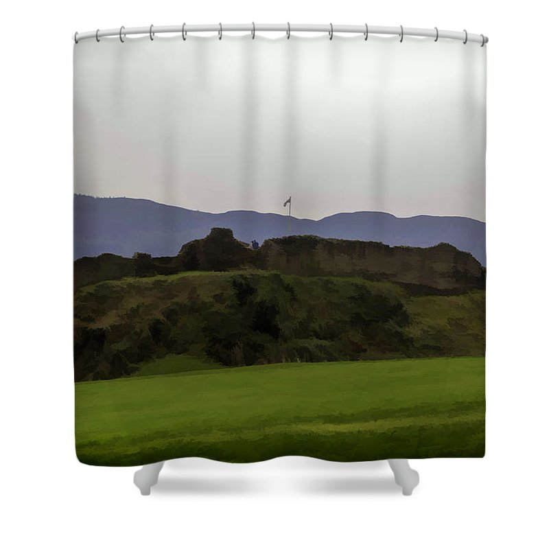 Blue Sky Shower Curtain featuring the digital art Saltire And The Ruins Of The Urquhart Castle In Scotland At A He by Ashish Agarwal